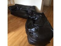 X2 brown faux leather beanbag sofas