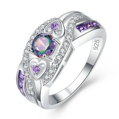 Women Love Heart Best Friend Ring Promise Mystic Rainbow Topaz Rings Gift