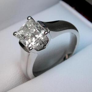 White Gold Diamond Engagement Ring 1.25CT Bague de Fiançailles en Diamant Princess