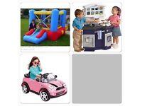 Bundle of toys bouncy castle kitchen mini car