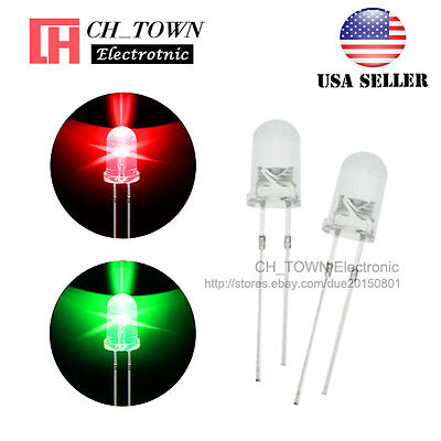 100pcs 5mm Water Clear Bi-color Red Green Light Blinking Flash Led Diodes Usa