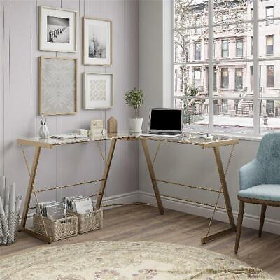 Gold Finish L-Shaped Glass Computer Desk Home Office Workstation Table Furniture L-shaped Office Table