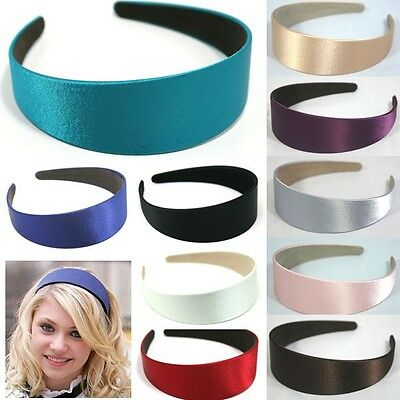 14 COLOR WIDE PLASTIC HEADBAND HAIR BAND ACCESSORY WHOLESALE LOTS SATIN - Accessory Wholesale
