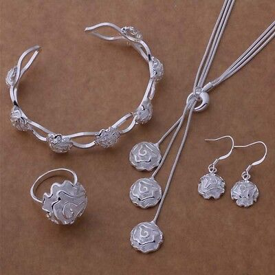 women jewelry Silver 925 fashion Rose Ring Bangle Earring Necklace set hot Necklace Earring Ring