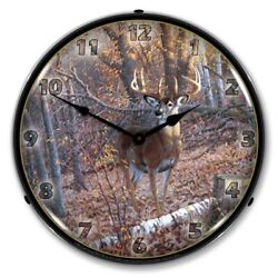 Michael Sieve Art Great 8 Point Whitetail Deer Backlit LED Lighted Wall Clock