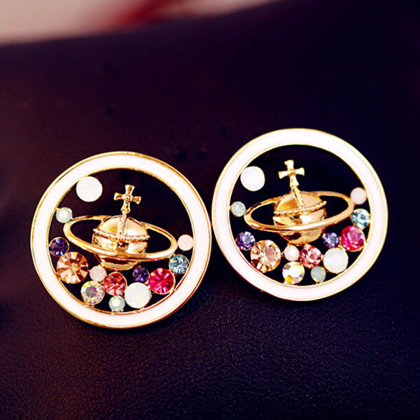 New Lovely Shiny Women Saturn Universe Crystal Earring Gift Beautiful