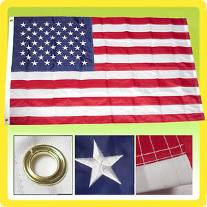 3'x5' US American Nylon Deluxe Embroidered Stars Sewn Stripes USA Flag