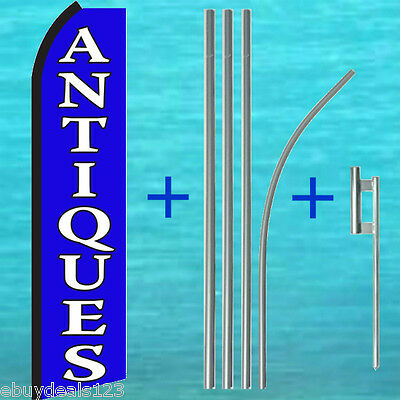 Antiques Feather Flutter Flag 15 Tall Pole Mount Swooper Banner Sign Kit