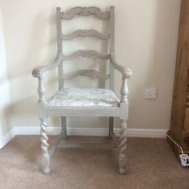 Shabby Chic Carver Chair painted in Annie Sloan 'French Grey'