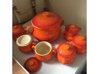 Unused Le Crueset Bean Pot and soup bowls