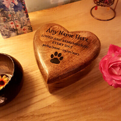 Heart Shaped Wooden Dog Cat Urn Memory Ashes Cremation Box Personalised Lasered