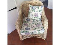 Beautiful Wicker Chair, Laura Ashley Fabric