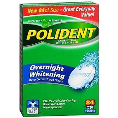 Polident Denture - Polident Overnight Whitening, Antibacterial Denture Cleanser Triple Mint 84 ea