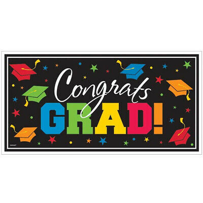 GRADUATION WALL BANNER Party Decoration Congrats Grad Black Colored Scene Setter](Congrats Banner)