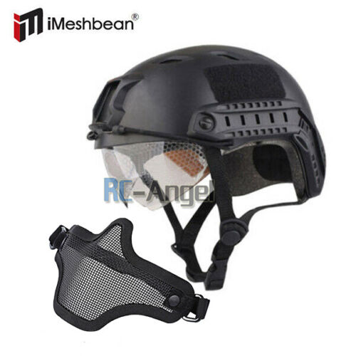 Military Tactical Gear Airsoft Paintball SWAT Protective Helmet w/ Goggle Gloves