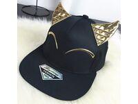 Chic Cat Ear PU and Eye Shape Embellished Black Baseball Cap For Women