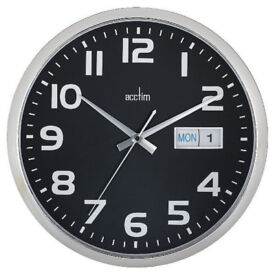 ACCTIM DAY/DATE NON-TICKING SILENT WALL CLOCK, BLACK, BOXED