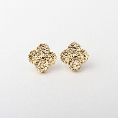 1-motif gold-tone lucky flower stud earrings in gold