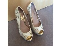 Size 5 cream studded shoes