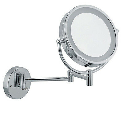 Chrome Wall Mounted Mirror (Infiniti Pro Wall-Mount Vanity Mirror 8.5 inch Chrome LED Cosmetic Makeup)