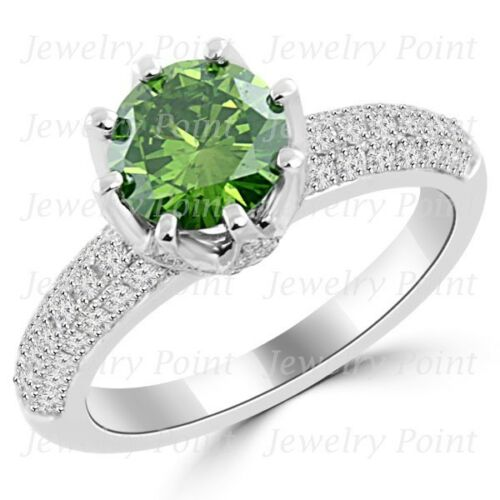 1.79ct Si1 Fancy Green Diamond 8-prong Engagement Bridal Ring 18k White Gold