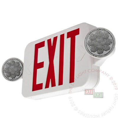 Led Exit Sign Emergency Light High Output - Red Compact Combo Ul Comborjr2