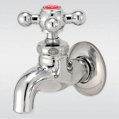Deck mounted Outdoor Garden sink faucet Bath chrome finish Cross handle RED