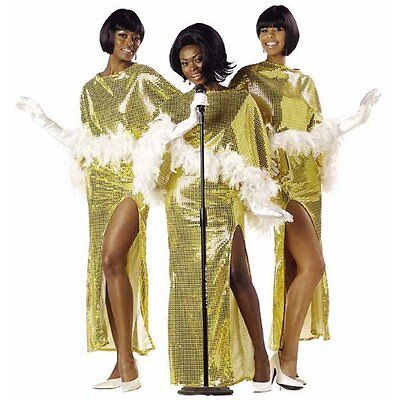 Motown Diva Costume Famous 60's Singers Gold Liquid Sequin 2 Piece Gown & Cape - Motown Costumes