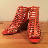 Women's summer-y orange wedges