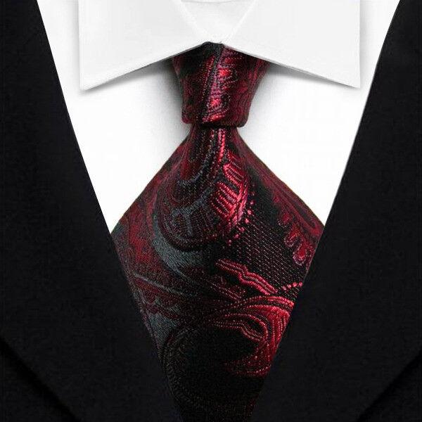 New Classic Patterns Dark Red White JACQUARD WOVEN 100/% Silk Men/'s Tie Necktie