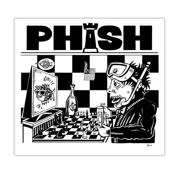 Phish NYE Pollock Poster Dinner and a Movie Rematch 1995 MSG Chess