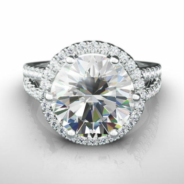 4 Carat Diamond Halo Ring Vs1 F Round Split Shank 14 Karat White Gold Sparkling