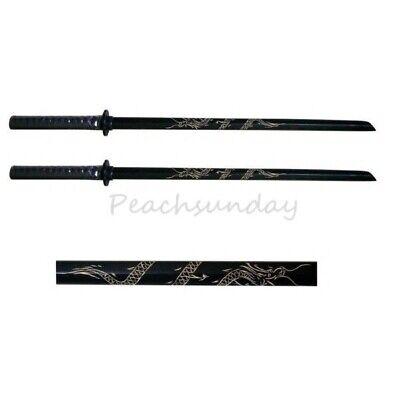 Set of 2 32'' Black Bokken Daito Wooden Practice Training Sword, Carved Dragon