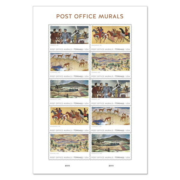 USPS New Post Office Murals Pane of 10
