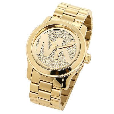 Michael Kors MK5706 Gold Tone Pave Crystal Runway Wrist Watch Free Shipping