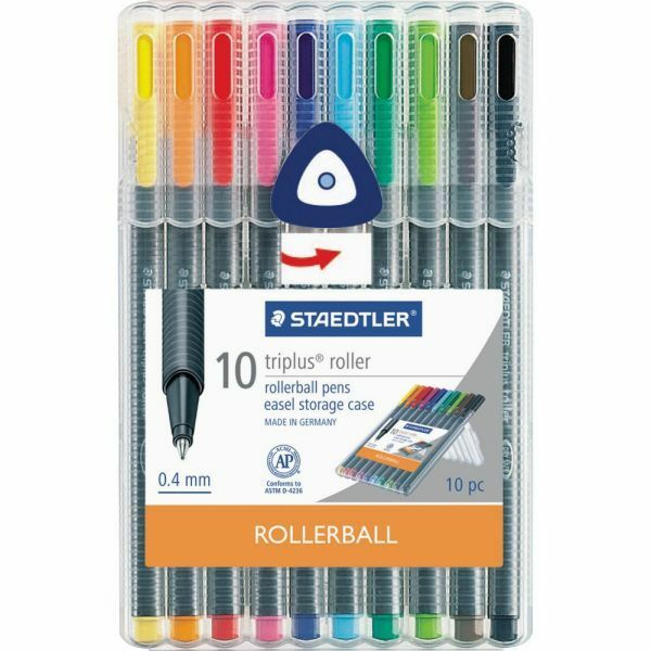 Staedtler Triplus Rollerball Pens, 10 Assorted Colors, .4mm Tip Size, Easel Case Art Pens & Markers