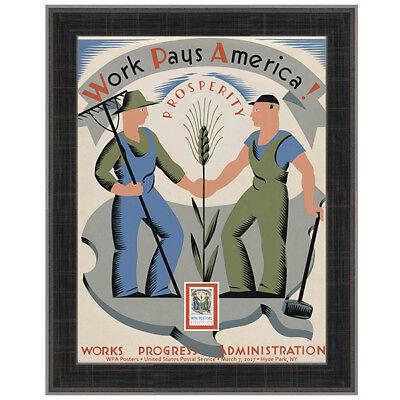 USPS New WPA - Work Pays America Framed Art