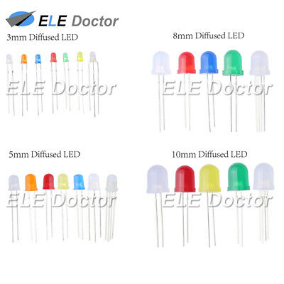 100 500 1000pcs 3 5 8 10mm Diffused Round Top Led Diodes White Red Blue Orange