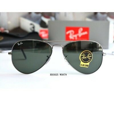 Ray Ban AVIATOR RB3025 W0879 Gunmetal Frame G-15 Green Lens 58mm Authentic New