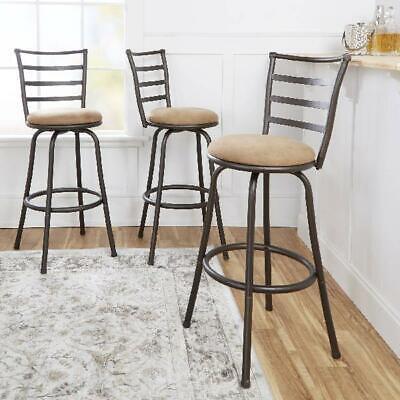 Swivel Barstool Chair Hammered Bronze Finish Adjustable-Height Set of 3 -