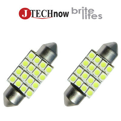 "2 x 36mm(1.50"") 16 SMD White LED Bulb 6411 6413 6418 C5W"