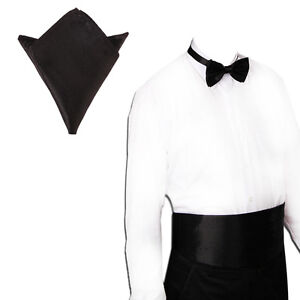 New Italian Satin Cummerbund and Bow Tie and Hanky Set