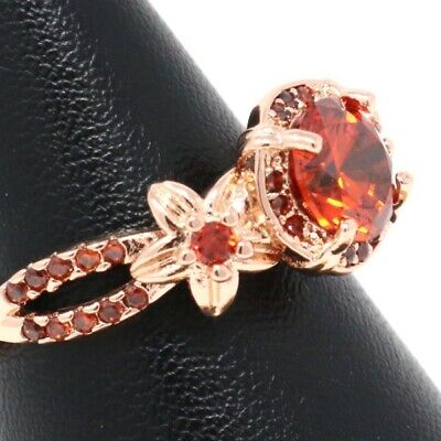 Hand Carved Solitaire Red Ruby Ring Women Flower Jewelry 14K Rose Gold Plated ()