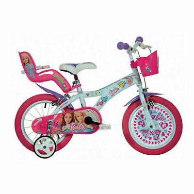 Dino Barbie Girls 16 Wheel Bike Pink Bicycle Stabilisers Adjustable Outdoor