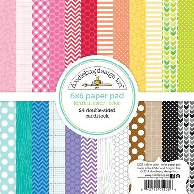 Scrapbooking Crafts 6X6 Paper Pad Doodlebug Kraft in Color Dots Stripes Patterns](Scrapbook Paper Crafts)