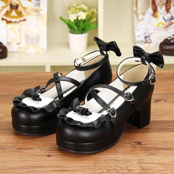 Gothic Lolita Damen Schuhe Shoes Cosplay Kostüme pumps high heel Blockabsatz Neu