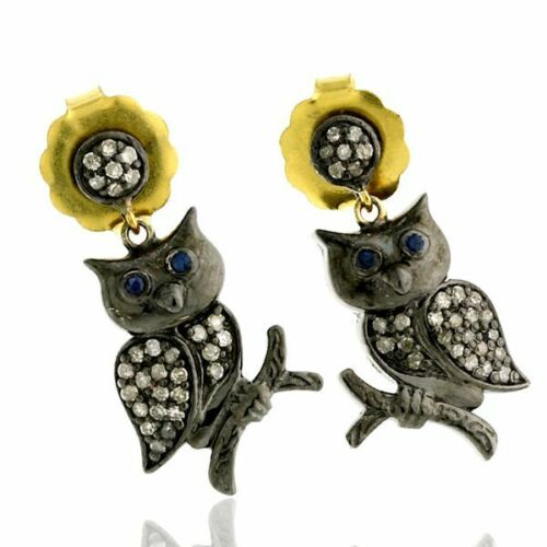 925 Silver Rose Cut Diamond Earrings Sapphire Antique Look Owl Dangle Jewelry
