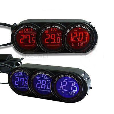 Auto Thermometer Innen/Aussen Digital Uhr Kalender  Blau/Orange Leuchtung