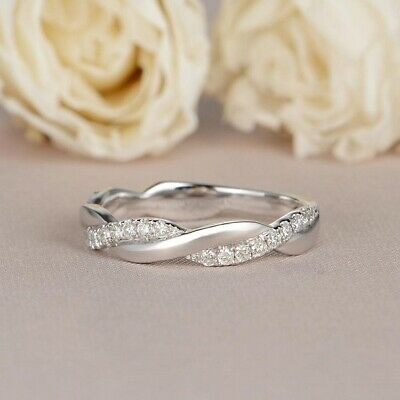 Twist Wedding Band 14K White Gold Over Diamond Ring Full Eternity Anniversary
