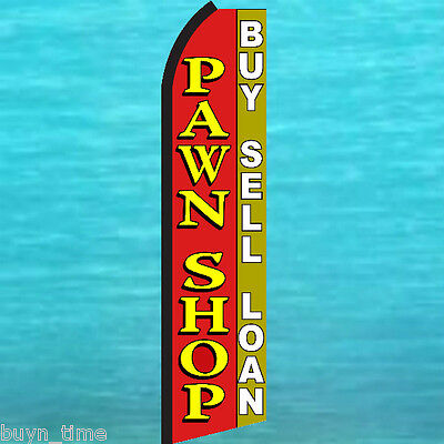 Pawn Shop Buy Sell Loan Flutter Feather Flag Swooper Tall Vertical Sign Banner